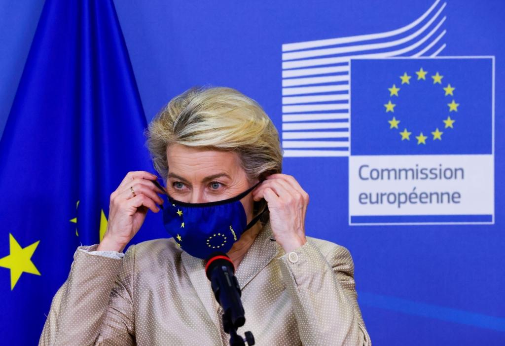 European Commission President Ursula von der Leyen welcomes Austrian President Alexander Van der Bellen (not pictured) in Brussels, Belgium, July 13, 2021. REUTERS/Pascal Rossignol/Pool